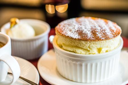 Grand Marnier Souffle with Vanilla Ice Cream Stok Fotoğraf