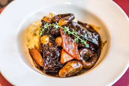 Joue de Boeuf Braisee Braised Beef Cheek, Red Wine Carrot, mushroom Pearl, and Onion Mashed Potato Stok Fotoğraf