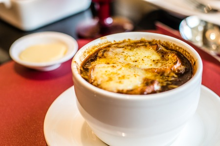 Soup a LOignon French Onion Soup with baked gruyere cheese