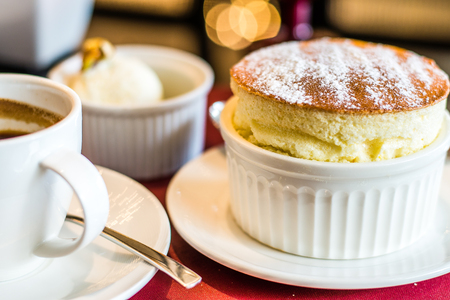 Grand Marnier Souffle with Vanilla Ice Cream Stok Fotoğraf