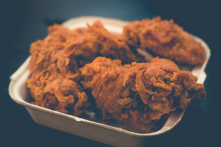 golden crispy fried Chicken Drumlets with crispy breaded skin