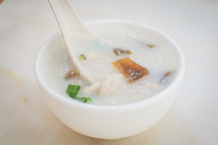Cantonese rice Porridge with Century Egg and Pork and spring onion