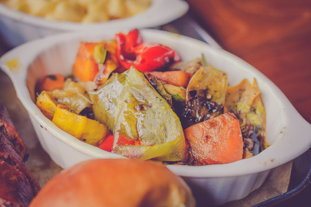 grilled carrot mushroom zuchini capsicum mixed vegetables with olive oil