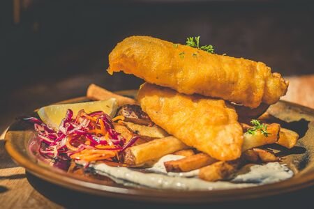 Atlantic Cod Fish And Chips Atlantic Cod is lean and white with a sweet, delicate taste which flakes tenderly. Served with handcut chips, fresh slaw and housemade tartar.