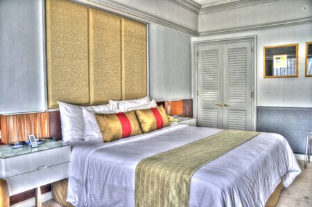 beautiful bedroom in condomunium, apartment, house with double bed and lighting and furnishings