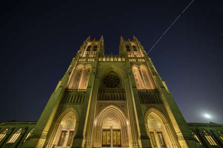 space station: The International Space Station passes over the Washington National Cathedral on the evening of a Blue Moon.