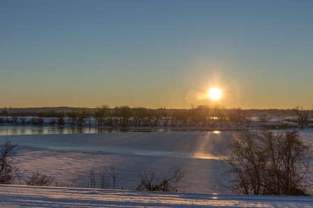 waterfowl: Sunrise over Roaches Run Waterfowl Sanctuary after the Blizzard of 2016