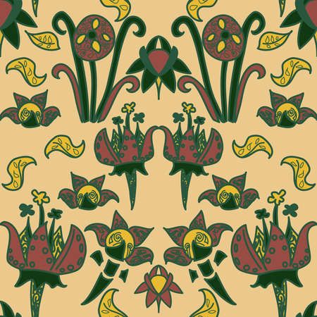 Repeating scalable vector floral pattern of medieval style flowers in green, red and yellow on a cream backdrop. Quirky and fun, this makes a bold and fabric print. An unusual but beautiful design.