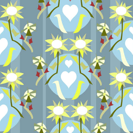 Vector seamless repeating funky spiky floral pattern in blue and lime with a touch of red and white in a fun style