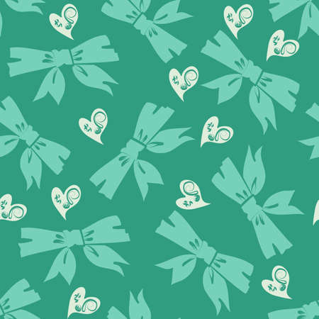 Seamless vector bows and hearts scattered repeating pattern in shades of jade green and cream