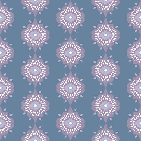 Seamless, vector intricate repeating abstract blue and lilac pattern in starburst formations