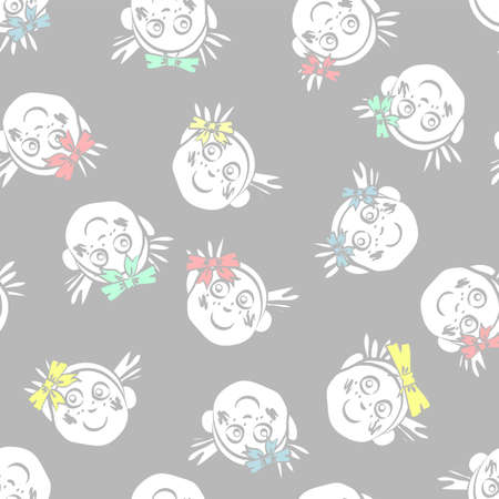 Vector repeat seamless pattern of smiling kids faces with colored hair bows scattered on a grey backdrop