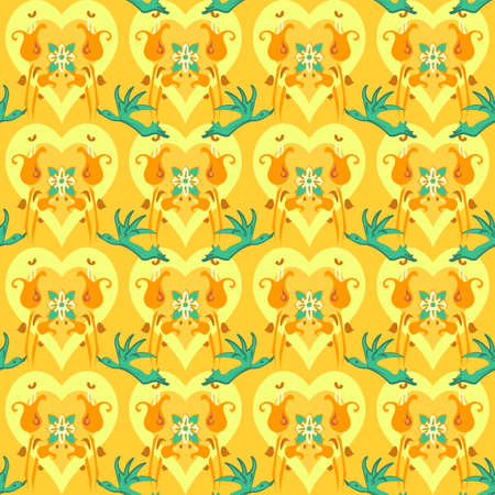 Vector seamless repeating pattern of birds and hearts in saffron yellow and green in a formal arrangement on a yellow backdrop
