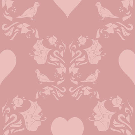 Vector repeatable pattern with flowers, hearts and birds in shades of delicate pink on a dusky pink background