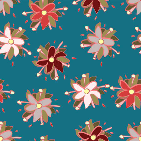 Vector repeat seamless pattern of multicolor flowers on a teal blue background in a doodle sketchy style
