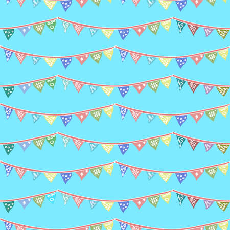 Repeat vector decorative bunting pattern in blue, reds, yellows and green on a sky blue background