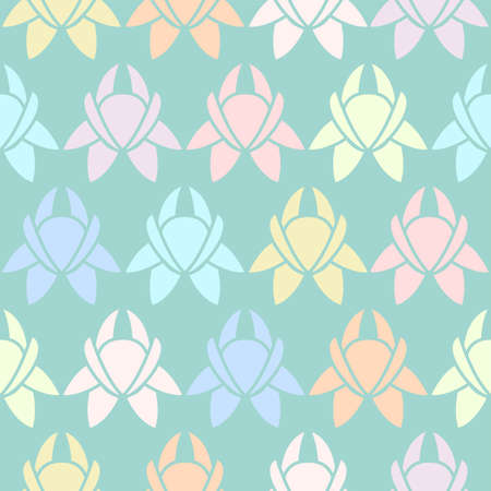 Repeatable vector seamless floral pattern in multicolor pastel shades on a blue green backdrop with simple flowers in a regular arrangement