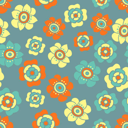 Vector seamless repeat retro floral pattern in vibrant orange, pale yellow and petrol blue. Fun and fresh, theses flowers are in a scattered arrangement Vektoros illusztráció
