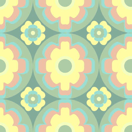 Vector repeat seamless geometric floral pattern in a 60s inspired design with a palette of yellow, pink and green 向量圖像