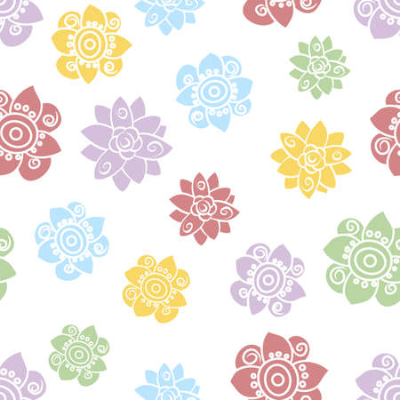 Vector repeat seamless scattered simple floral pattern in blue, yellow, purple and green on a white background