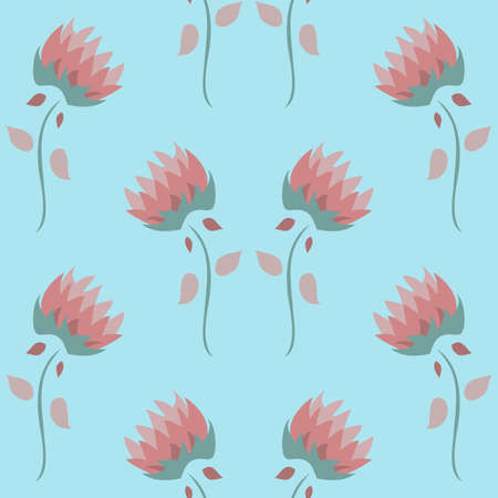 Vector repeatable abstract floral pattern in a regular arrangement in pastel blue, pink and green