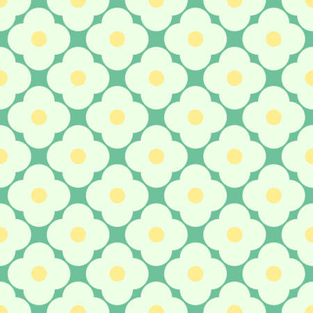 Seamless vector repeating regular simple white and yellow daisy pattern arranged in diagonal rows on a green background