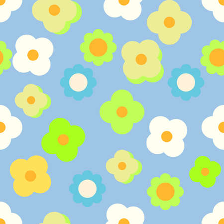 Seamless vector repeating abstract simple 60s inspired scattered floral pattern with neon green daises on a beautiful sky blue backdrop