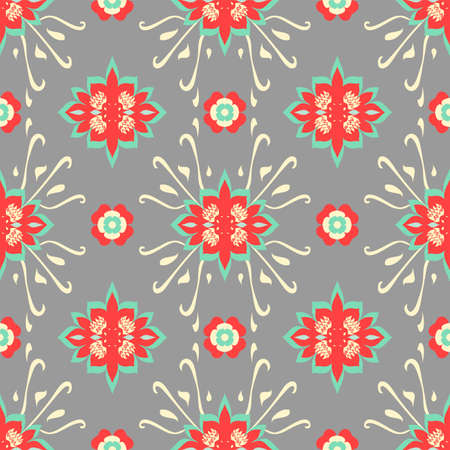 Vector repeating abstract grey and red regular pattern with diamond shapes and swirly lines