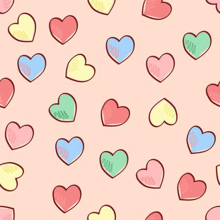 Vector seamless random heart pattern in multicolor red, blue, yellow and green on pastel pink with deep red outlines