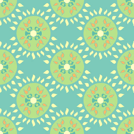 Vector repeatable abstract geometric blue and green pattern with round shapes and decorative, elaborate elements in a symmetrical formation Ilustração
