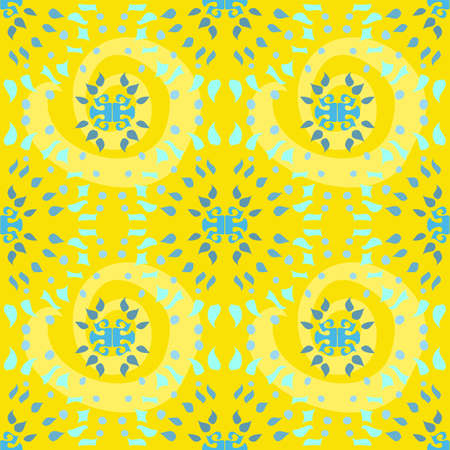 Repeat vector seamless abstract pattern in starburst shapes with green and blue on a yellow background