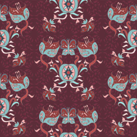 Repeat vector seamless ornate floral pattern decorated with wavy lines and intricate details in maroon and duck egg blue in a traditional style