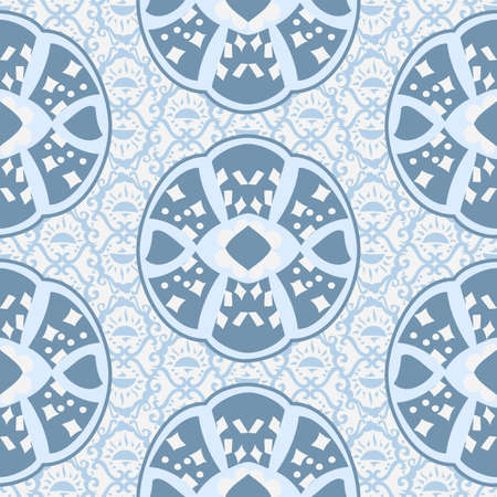 Vector repeatable abstract pattern with shapes arranged in a symmetrical formation in pale china blue and white