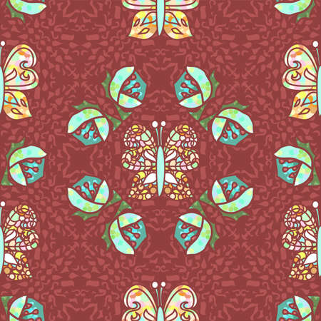 Vector repeating seamless art nouveau inspired vintage pattern in glittering aqua green and maroon red with multicolor decorative butterflies