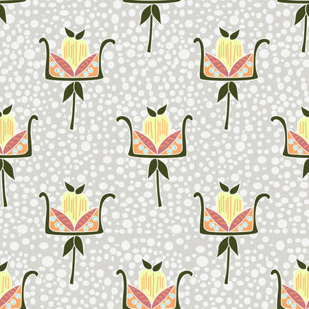 Modern vector seamless repeat floral pattern in rustic earth tone shades with fantasy stylised flowers arranged symmetrical with a muted dotted white and grey backdrop
