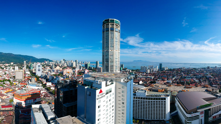 Aerial view of the Penang skyline during the day. Editorial