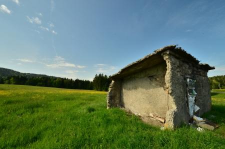 abandoned shed on farm