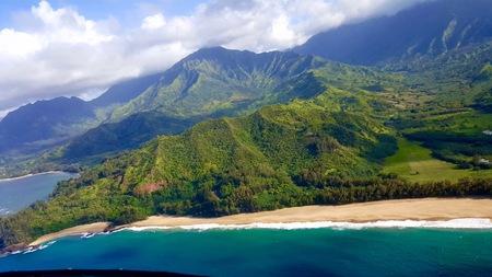 hawaii trip,helicopter shot,Na pali coast