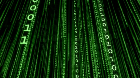 Falling lines of green binary code. Matrix background