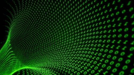 Tunnel of green binary code Imagens