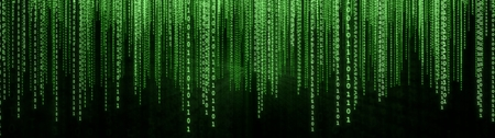 Falling lines of green binary code. Matrix panorama background