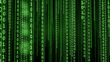Falling lines of green binary code. Matrix background