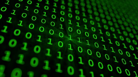 Green binary matrix array background Imagens - 97228644
