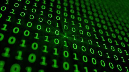 Green binary matrix array background Banque d'images
