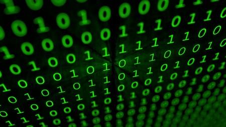 Green binary matrix array background Imagens