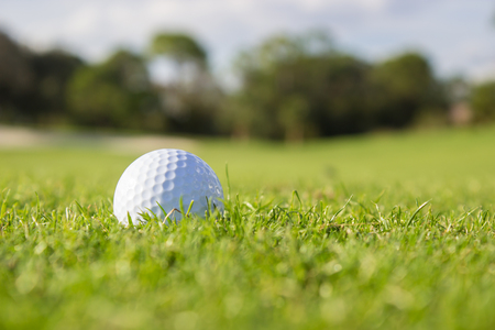 A white golf ball on the fairway of a course
