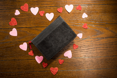 Bible and Heart on Valentines Day Stock Photo