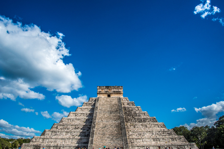 Chichen Itza Mexican Civilization with a Pyramid, Ruins and Village. One of the seventh wonders of the world. Editorial