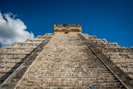 Chichen Itza Mexican Civilization with a Pyramid, Ruins and Village. One of the seventh wonders of the world. Stock Photo