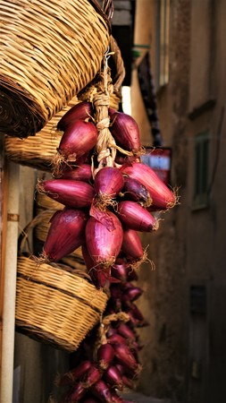 Purple onions hang on the wall of a house